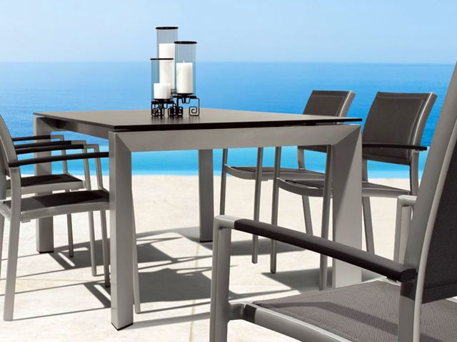 Mondecasa Rhodes Outdoor Table Aluminum Tabletop Extendable Indoor Outdoor Furniture Outdoor Furniture Furniture