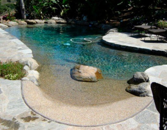 Walk In Natural Swimming Pool Design Using Concrete