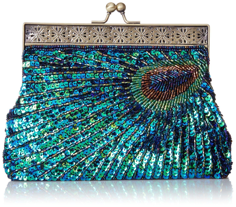 MG Colección Nisha con cuentas de lentejuelas embrague del pavo real, azul, un tamaño: Bolsos: Amazon.com