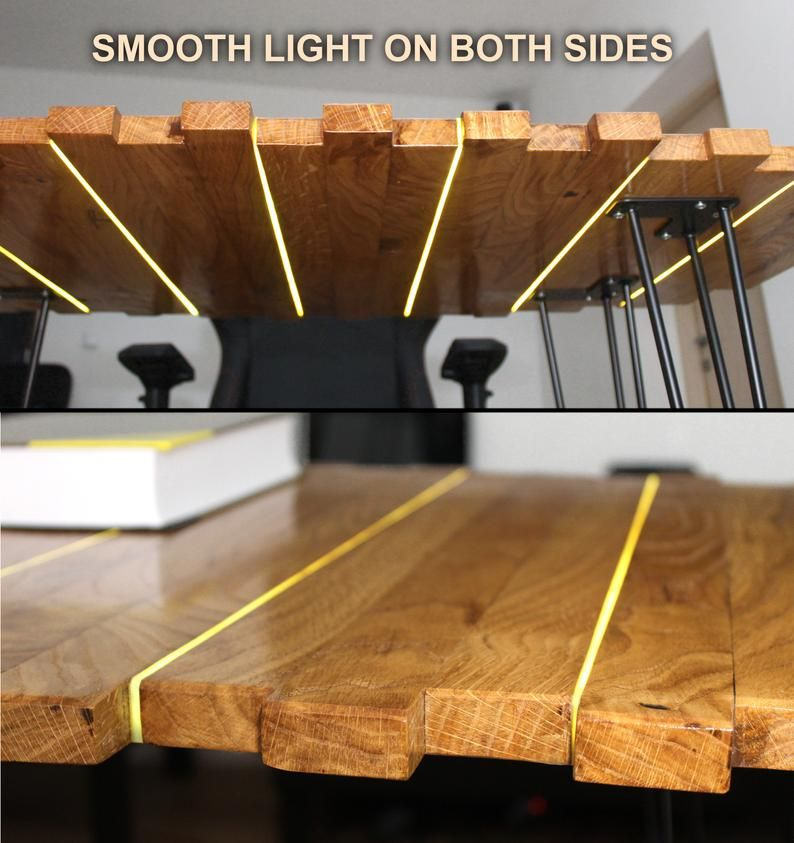 Lightwood glowing table dazzling led dining table or desk