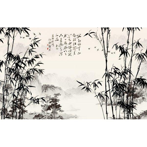Papier peint paysage chinois les bambous etle poème | Papier peint ...