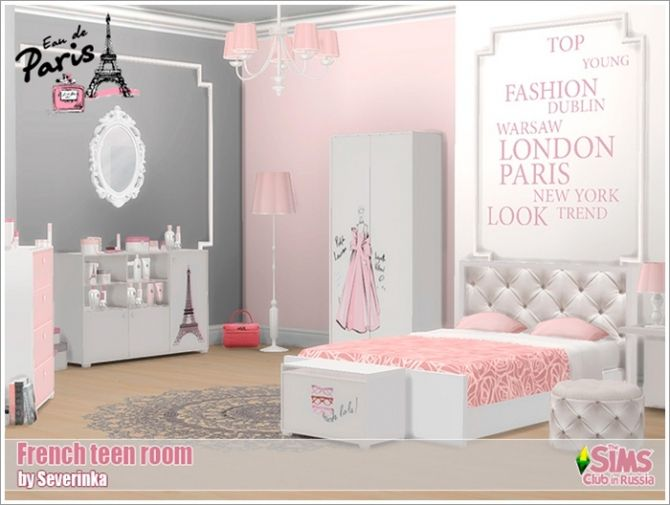French teen room at sims by severinka http for Bedroom designs sims 4