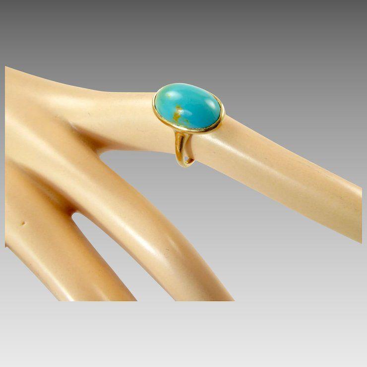 Edwardian Turquoise And 12 Karat Gold Ring Turquoise Gold Rings Rings
