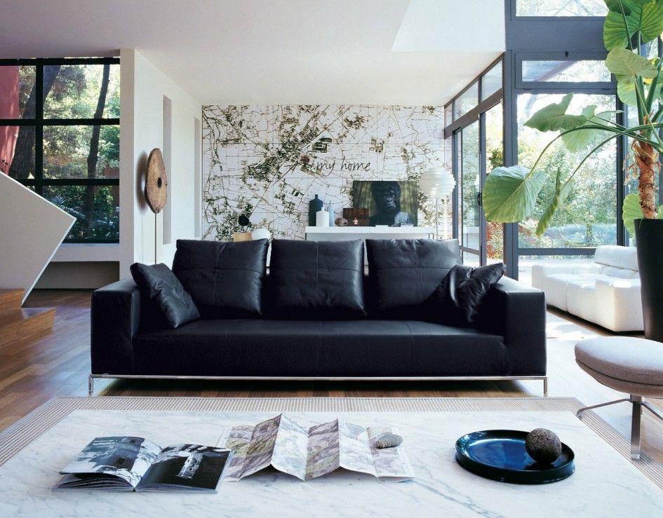 Black Leather Sofa 소파 디자인, 거실 디자인, 미니멀리즘 거실