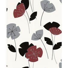 Contour Antibac Flori Red, Black & White Wallpaper 30-215