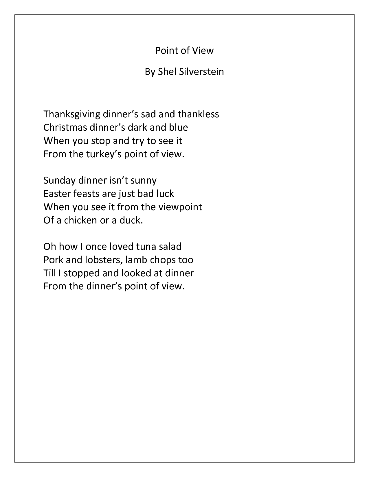 Point of View By Shel Silverstein Thanksgiving dinners sad and .doc ...