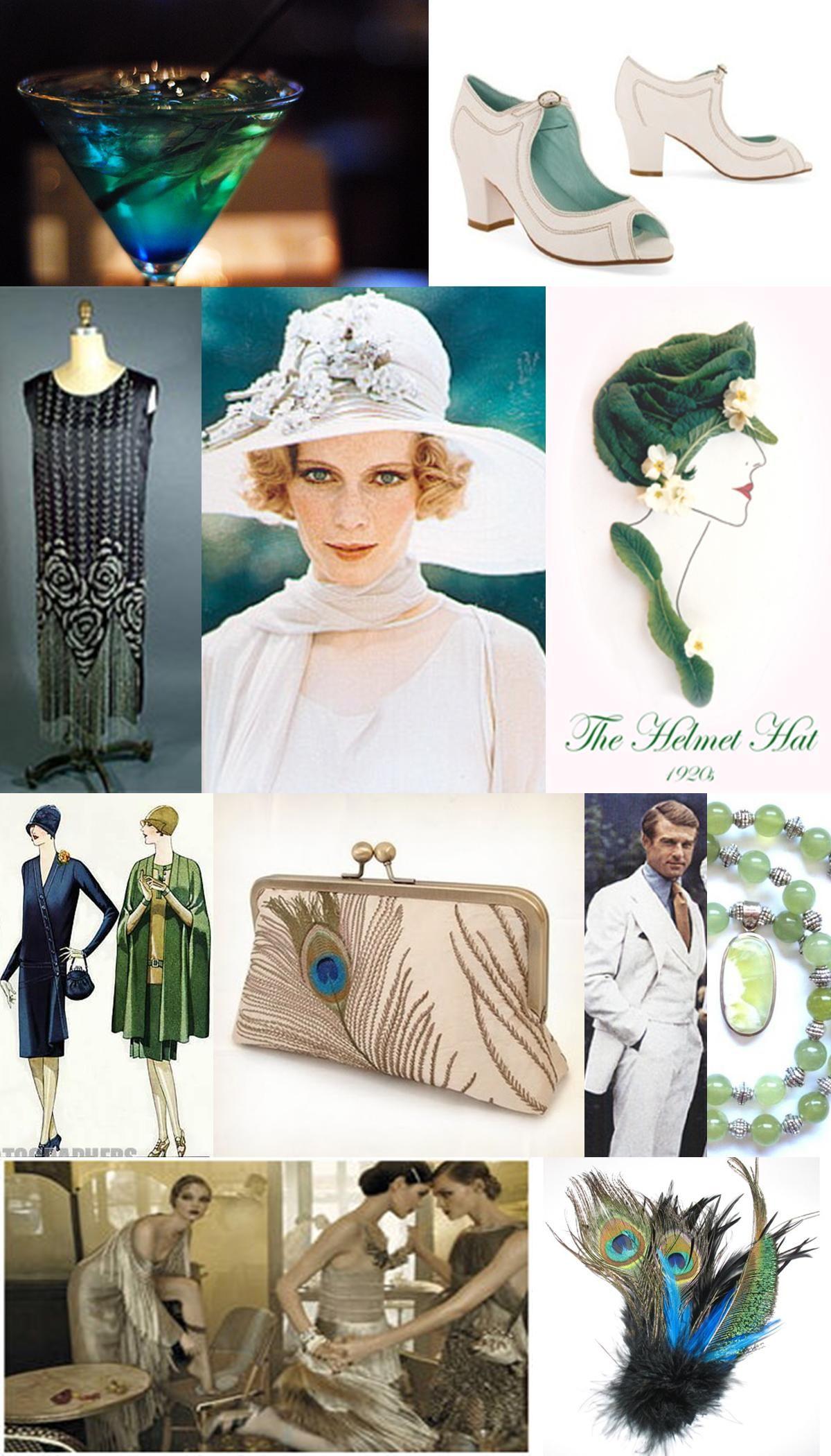 Inspiration Board: 1920s (Green, White, Silver)   Gatsby wedding ...