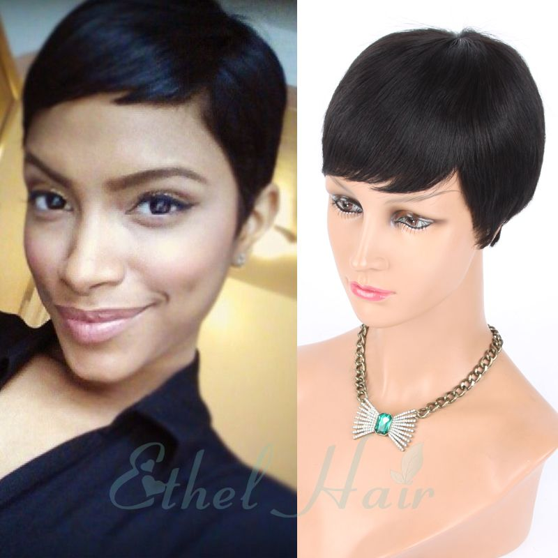 2016 New Pixie Cut cheap Human Hair Wig Rihanna