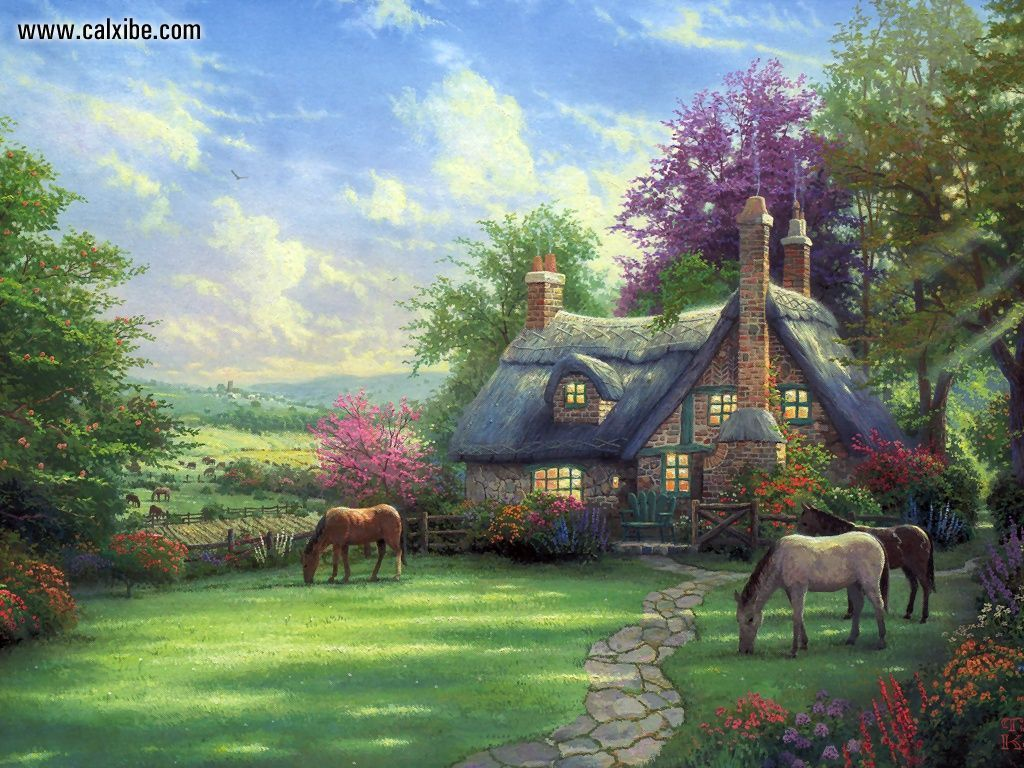 Drawing Painting Kinkade Aperfect Summer Day Picture Nr 12407