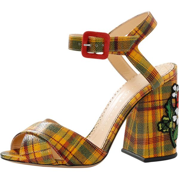 Charlotte Olympia Emma Print Sandal (€670) ❤ liked on Polyvore featuring shoes, sandals, rose shoes, patterned shoes, charlotte olympia shoes, tartan plaid shoes and tartan shoes
