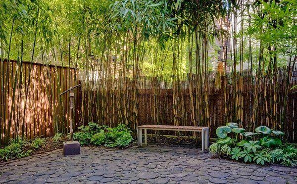 bamboo privacy fence garden bench Modern Garden Ideas - bambus garten design