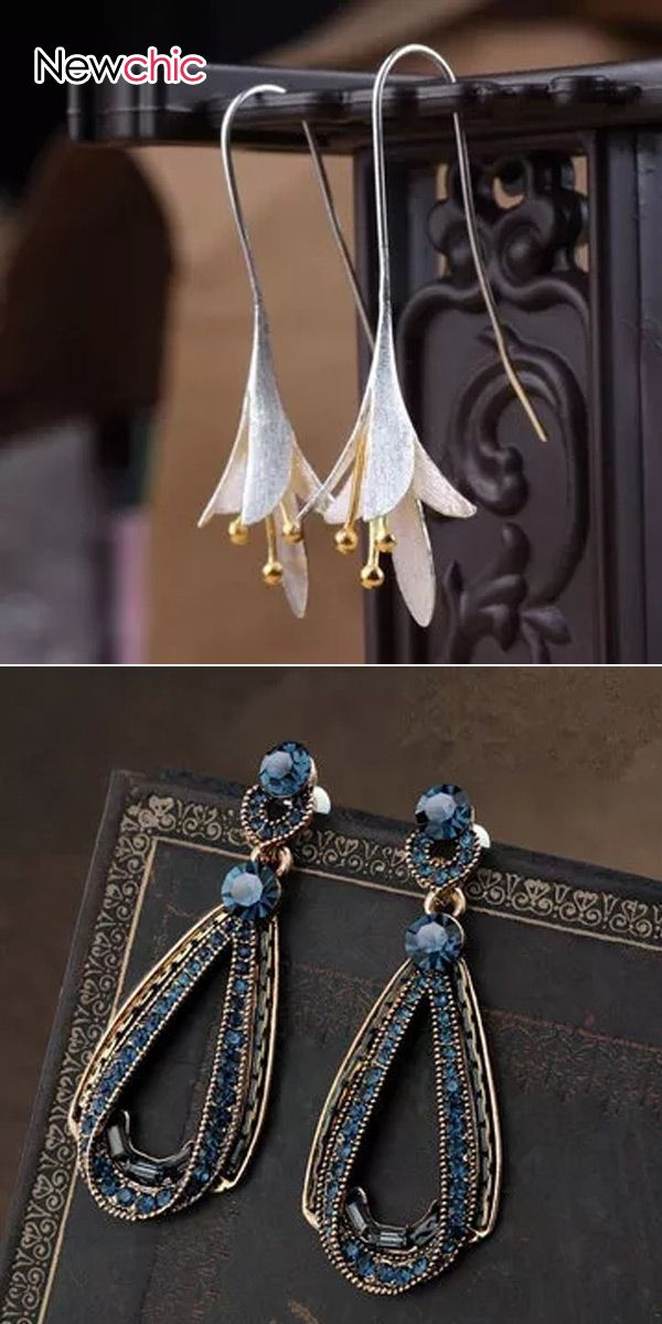 【Shop Now】From US$1.99. Vintage Earrings Magnolia Long Flower Dangle Earrings