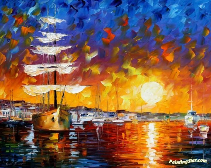 The sunset sailer Artwork by Leonid Afremov Hand-painted and Art Prints on canvas for sale,you can custom the size and frame