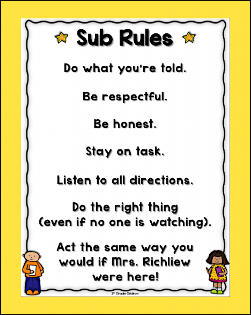 Classroom Management Ideas For Substitutes : Free sub rules poster for when you re absent it s