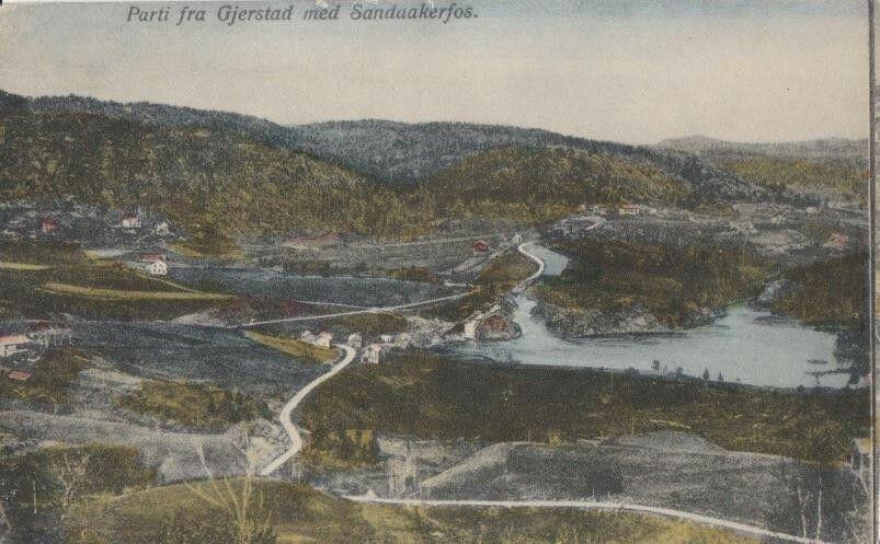 Aust-Agder fylke Gjerstad kommune PARTI FRA GJERSTAD MED SANDAAKERFOS Utg Melaas kolorert tidlig 1900-tall