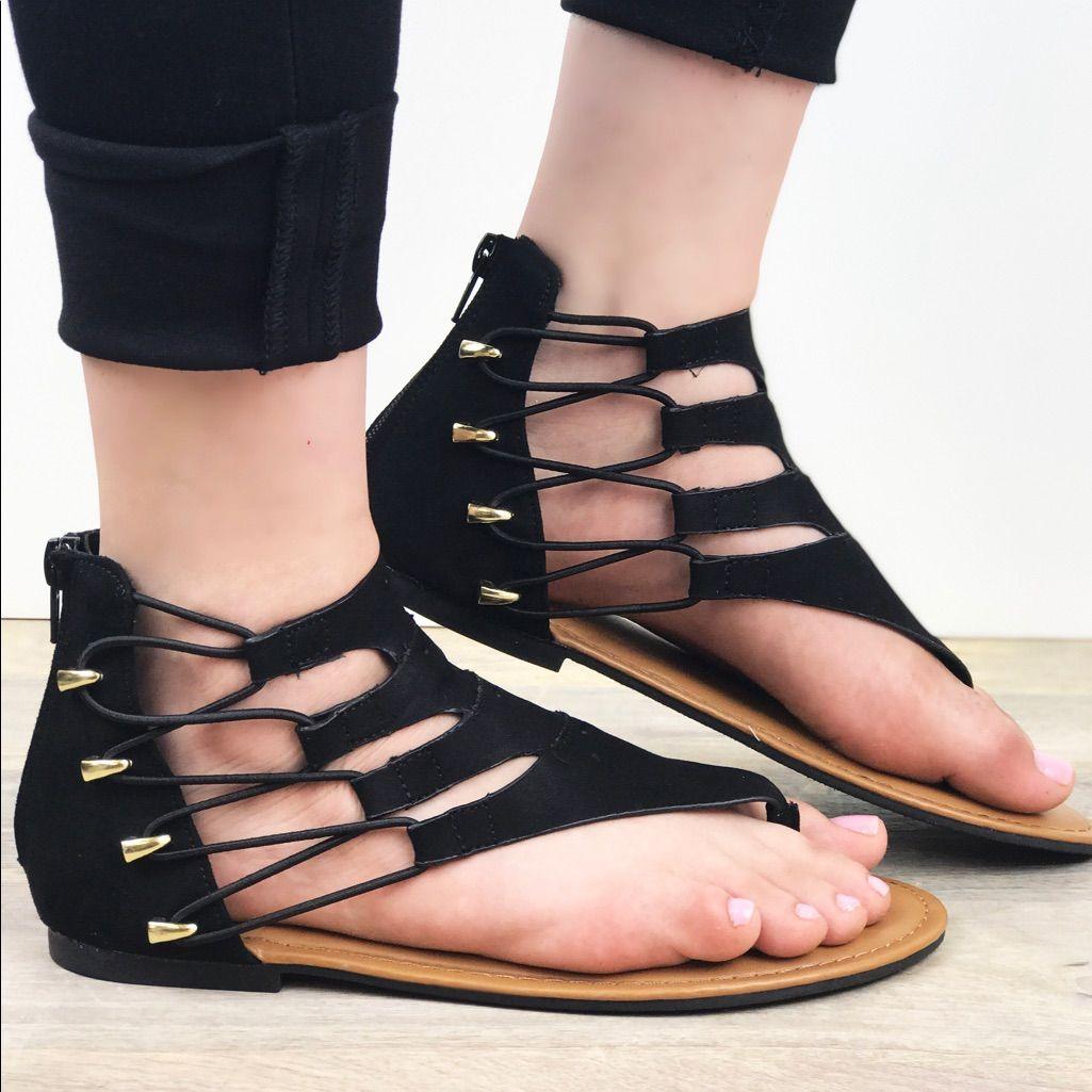 Elastic Gold Accent Gladiator Sandal