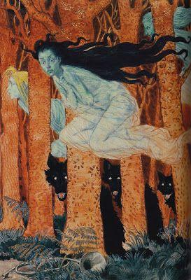 """Eugène Grasset - """"Trois Femmes et Trois Loups"""" 1892"""