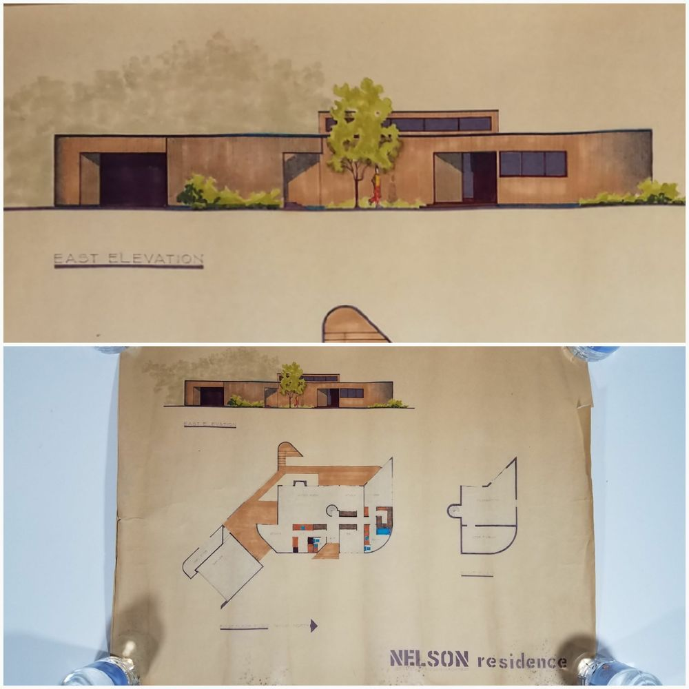 Vtg 1975 mcm architect custom home layout unframed blueprint art vtg 1975 mcm architect custom home layout unframed blueprint art malvernweather Gallery