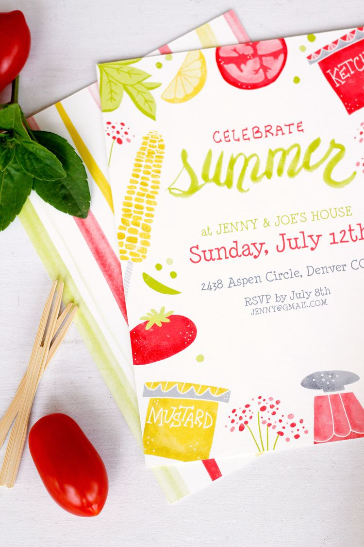 5 different illustrated customizeable invitation designs for