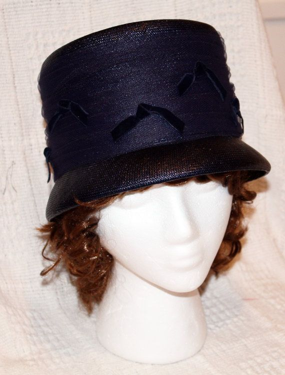 a0dd5518f30 Vintage Ladies Hat Navy with Netting and Bows Union Made