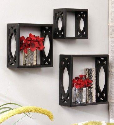 onlineshoppee wooden wall shelf number of shelves 3 black rh pinterest com Cheap Shelving Ideas Cheap Shelving Ideas