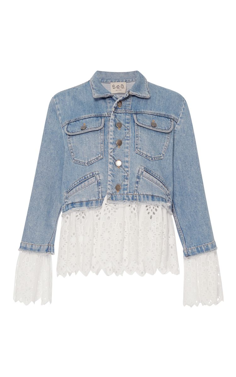 Eyelet layered denim jacket by Sea