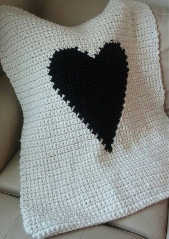 Modern Crochet Heart Baby/Crib Blanket | Manta de ganchillo moderna ...