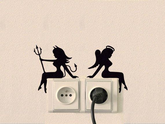 Cheap Wall Stickers Devil Women Wall Sticker