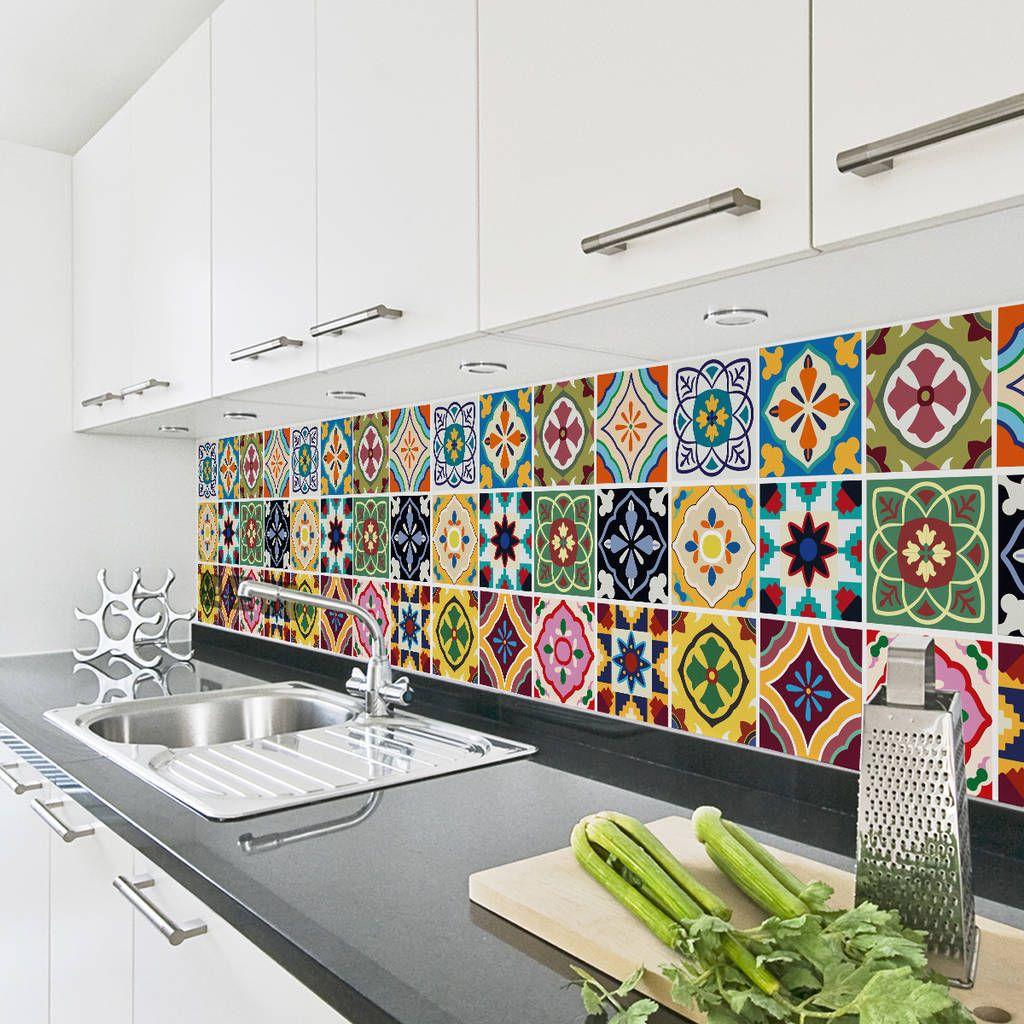 Talavera Tile Decal Sticker Set Pack Of 24 Kitchen Wall Tiles
