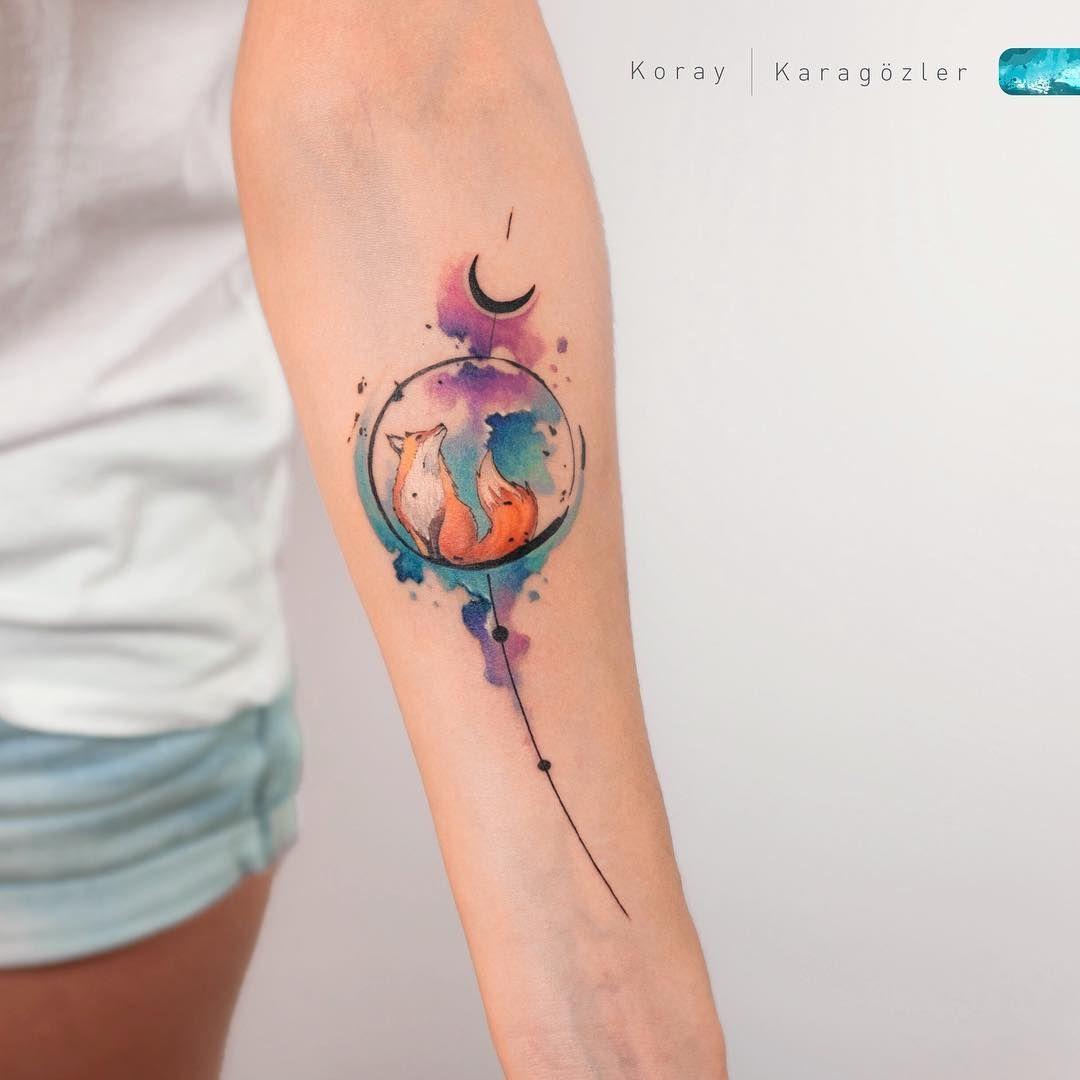 Fox Watercolor Abstract Fox Tattoo Watercolortattoo Abstracttattoo Foxtatto Skin Color Tattoos Watercolor Fox Tattoos Colour Tattoo For Women