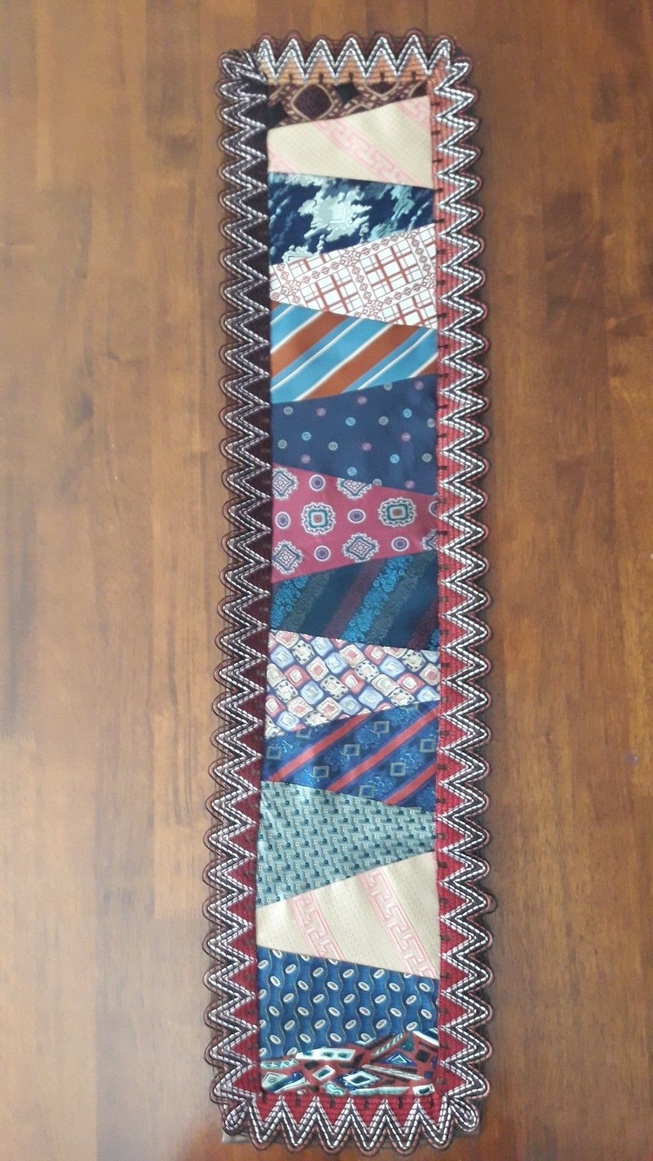 Neck-ties are used to make this table runner | Necktie ...
