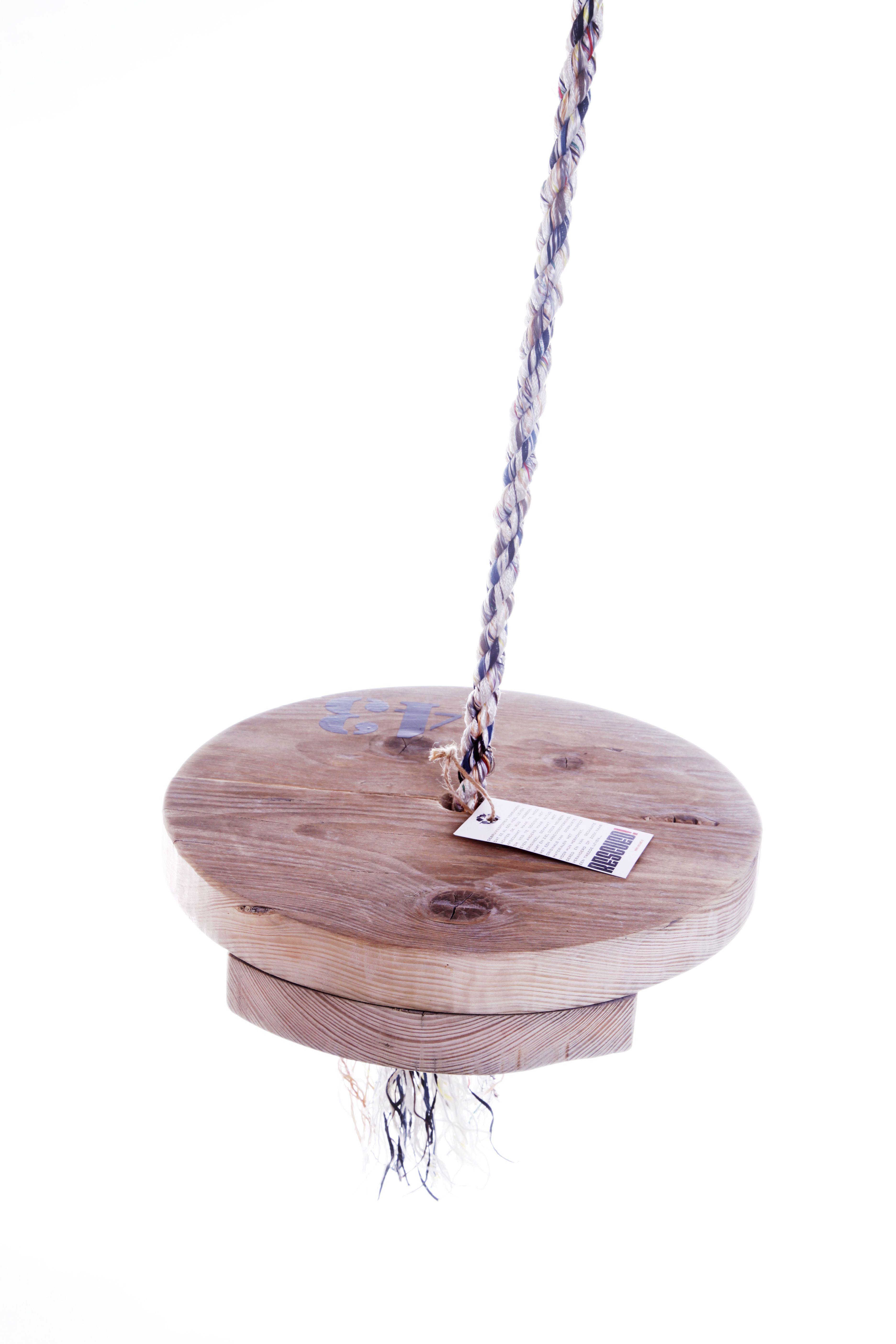 Originele schommel van sloophout met een diameter van cm en een