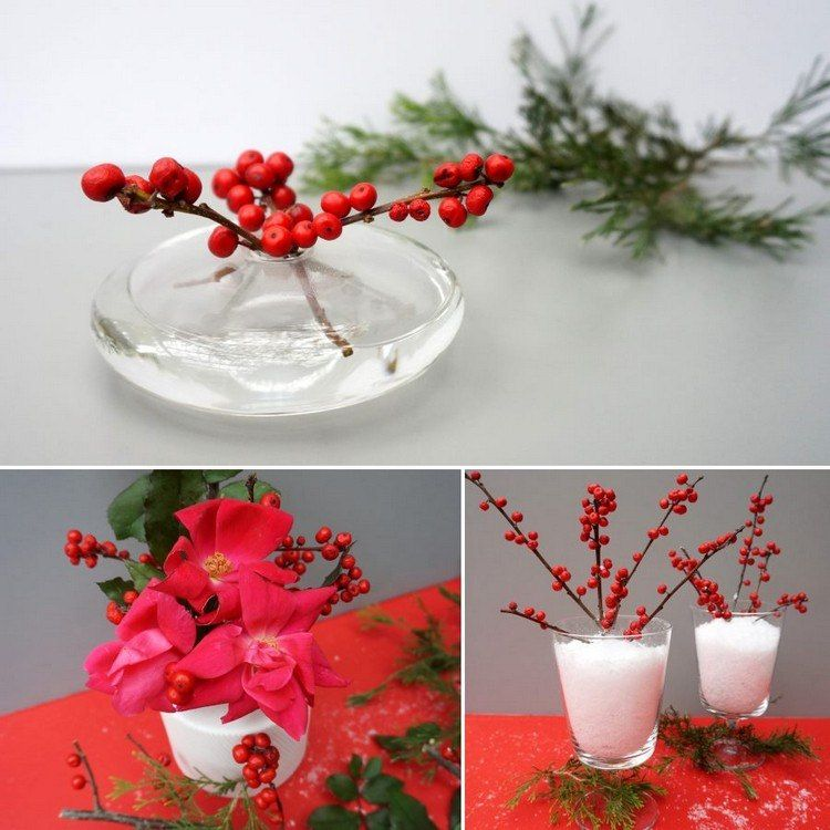 Winterdeko mit Beerenzweigen in Vasen Wohnzimmer Einrichtung - winter deko wohnzimmer