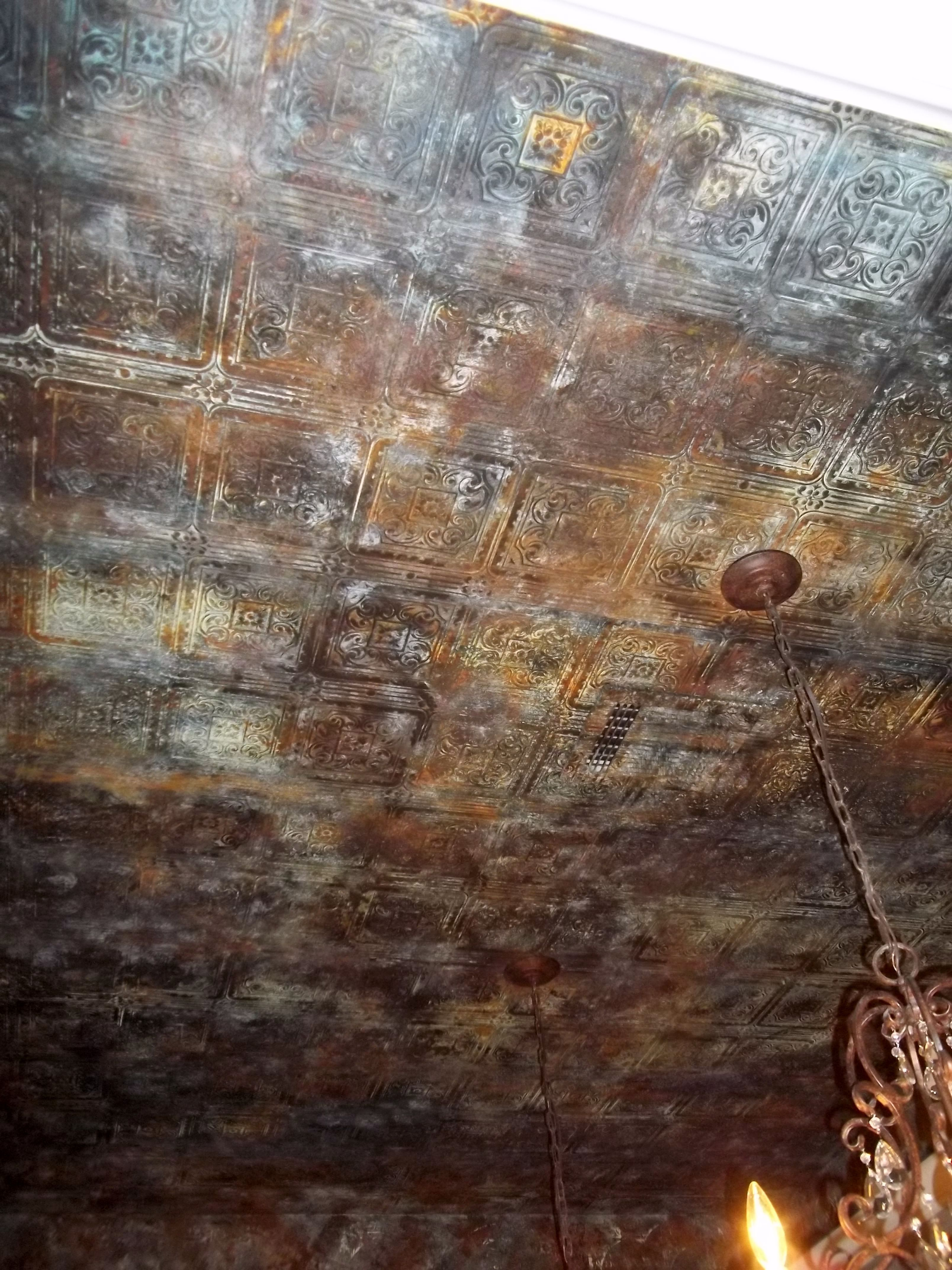 Aged tin ceiling wallpaper metal paint more than for Ceiling wallpaper