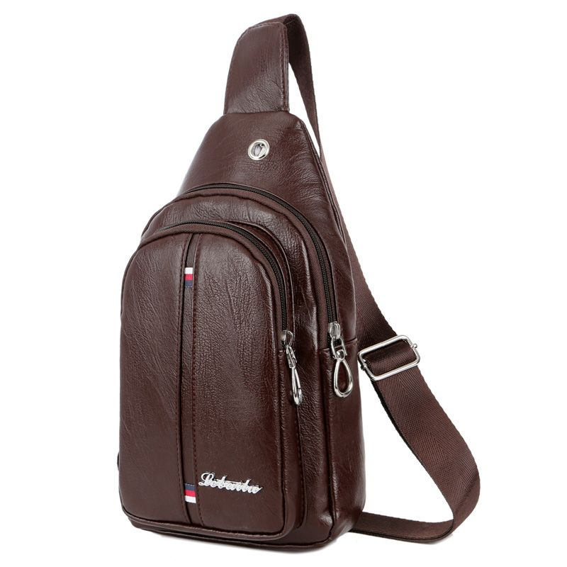 Brown Color : Black Carriemeow Simple Retro Zippered Canvas Chest Shoulder Bag Messenger Bag Color