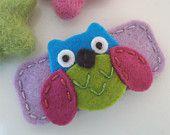 KEINE SLIP Wollfilz Haar clip - Hoot Owl-lila