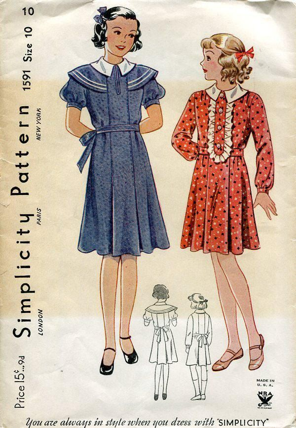 FREE US SHIP Simplicity 1591 Nra Sewing Pattern Retro 1930s 30s ...