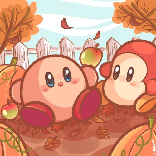 """chibiirose: """" autumn Kirby! :3 """""""