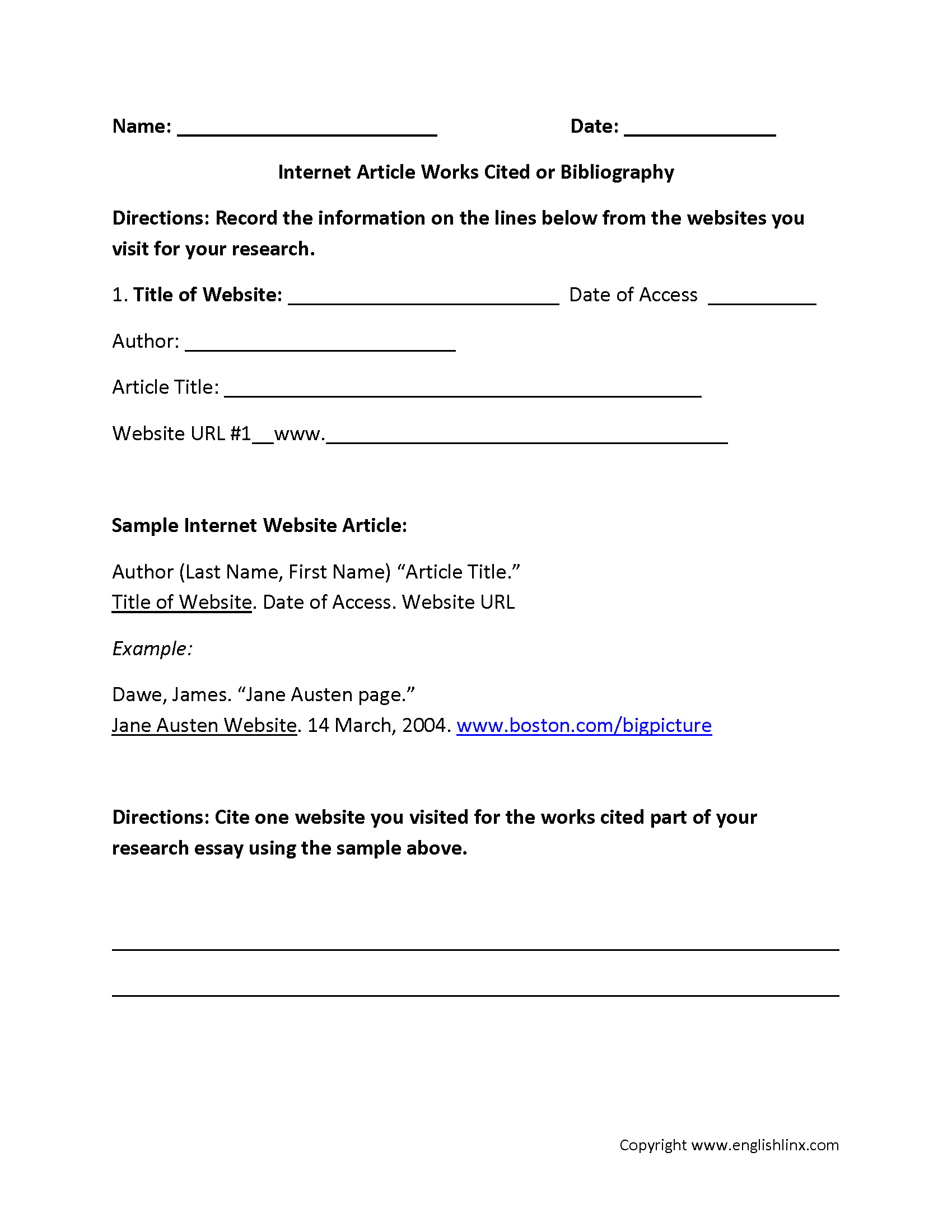 Worksheets Worksheet Websites internet article works cited or bibliography worksheet worksheet