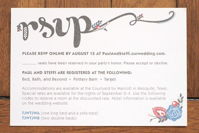 Online Wedding Invitations And Rsvp: Love The Way Rsvp Is Written, And The Little Floral