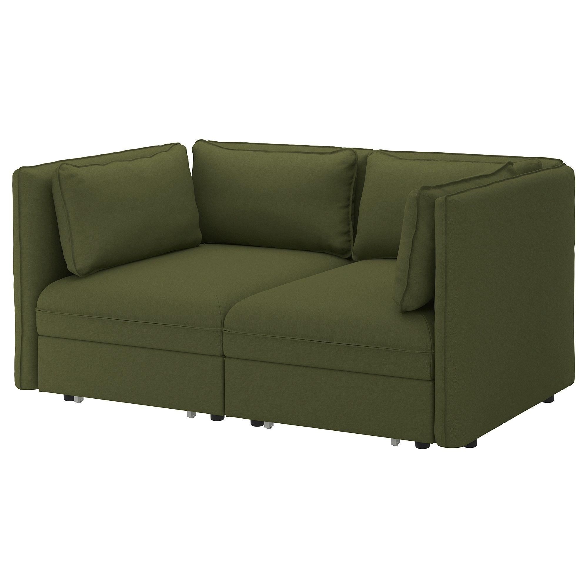 Vallentuna Mod Sofa 2 Seat W 2 Slpr Sections Orrsta Olive Green In
