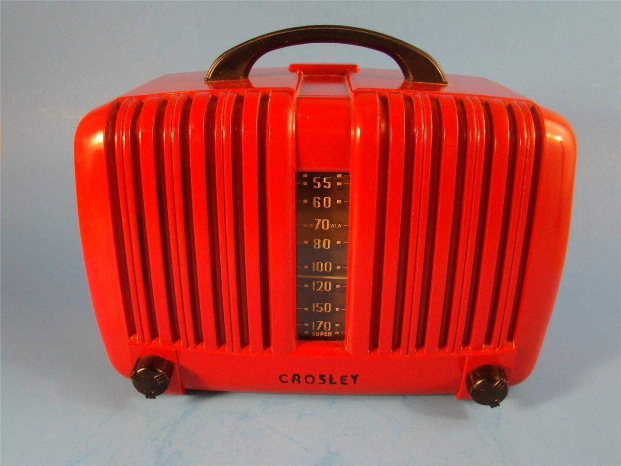 Vintage Art Deco Red Bakelite Super Crosley Tube Radio Works | eBay