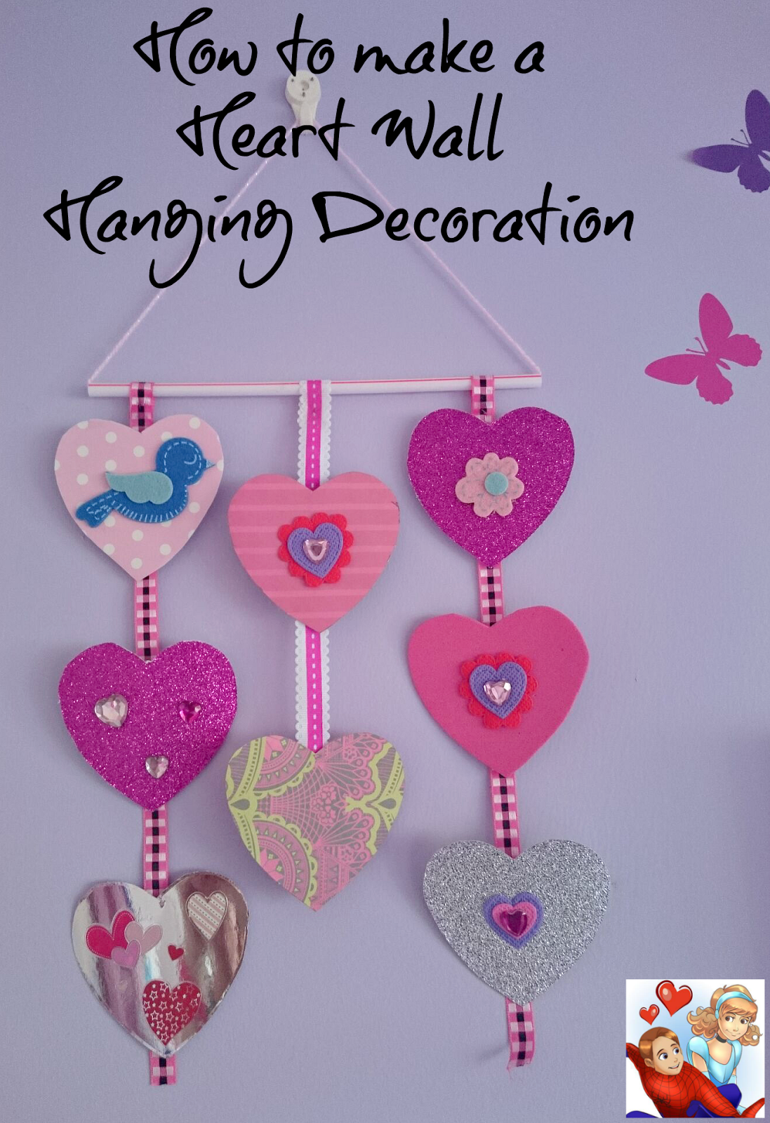 how to make a heart wall hanging decoration/heart mobile   heart