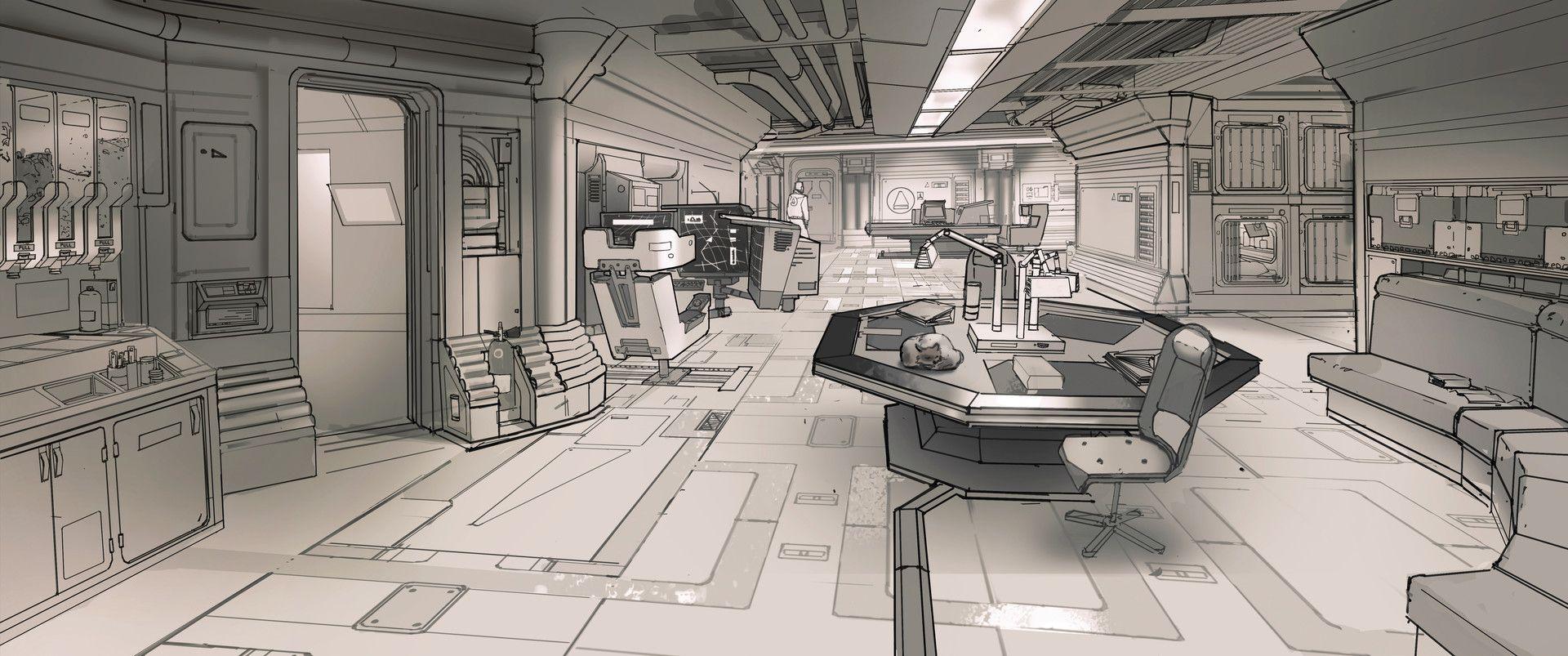 Artstation Demo Sci Fi Station Interior Design Adrien Girod
