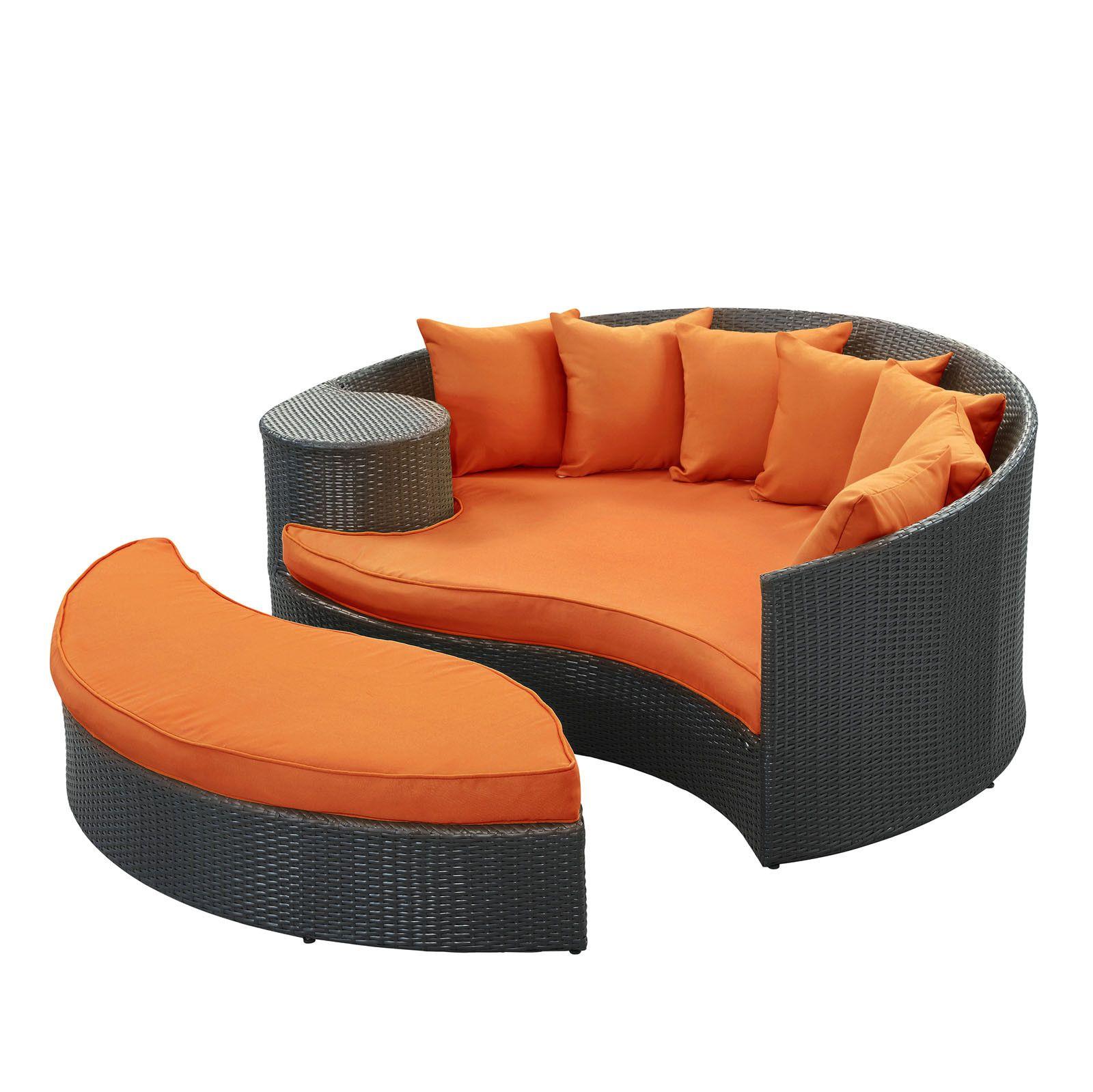 Lexmod Taiji Outdoor Wicker Patio Daybed With Ottoman In Espresso With Orange Cushions Crowdz Outdoor Daybed Patio Daybed Patio Lounge Chairs