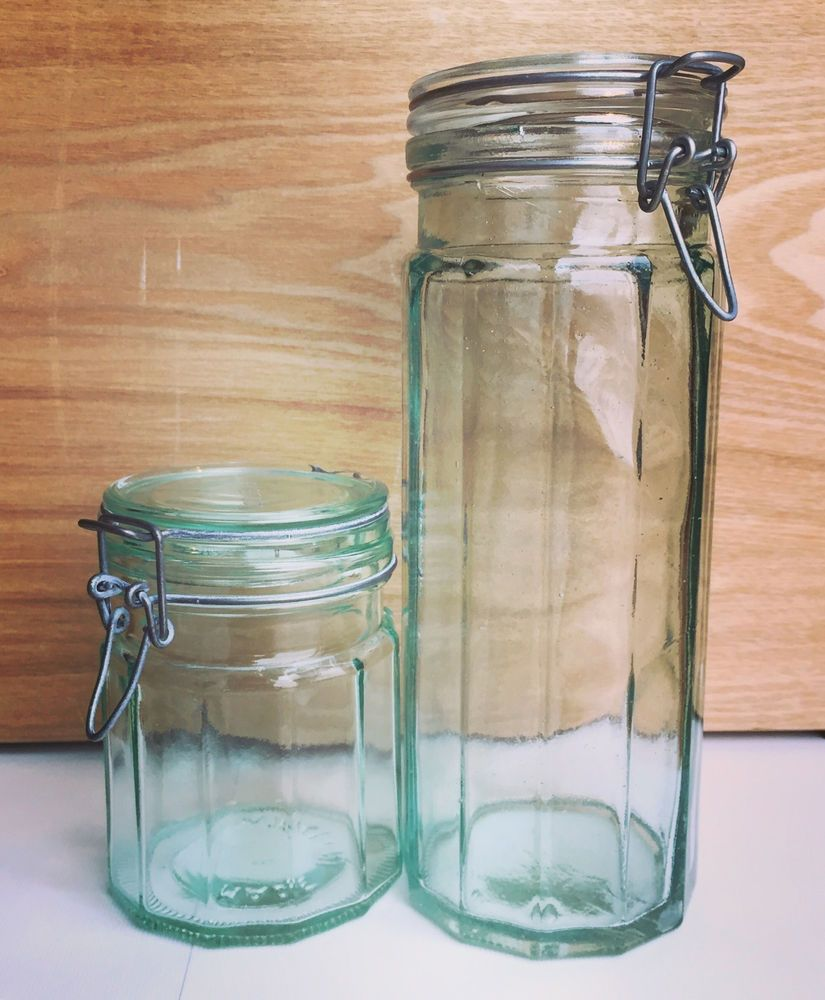 Attractive Vintage Hermetic Green Glass Storage Jars Set Of 2 Made In Italy | EBay