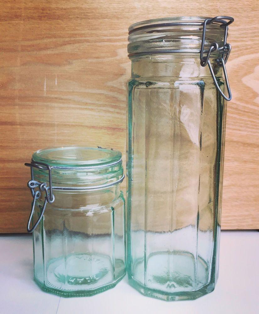 Vintage Hermetic Green Glass Storage Jars Set Of 2 Made In