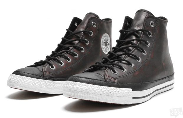 CONVERSE CHUCK TAYLOR LEATHER HI BLACK CRANBERRY  e6bfb0667d