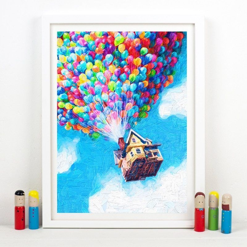 Balloon House Up Movie Print Pixar Poster Oil Painting Wall Art Canvas Painting Adventure Travel Posters Nursery Kids Room Decor Wall Art Canvas Painting Pixar Poster Canvas Wall Art