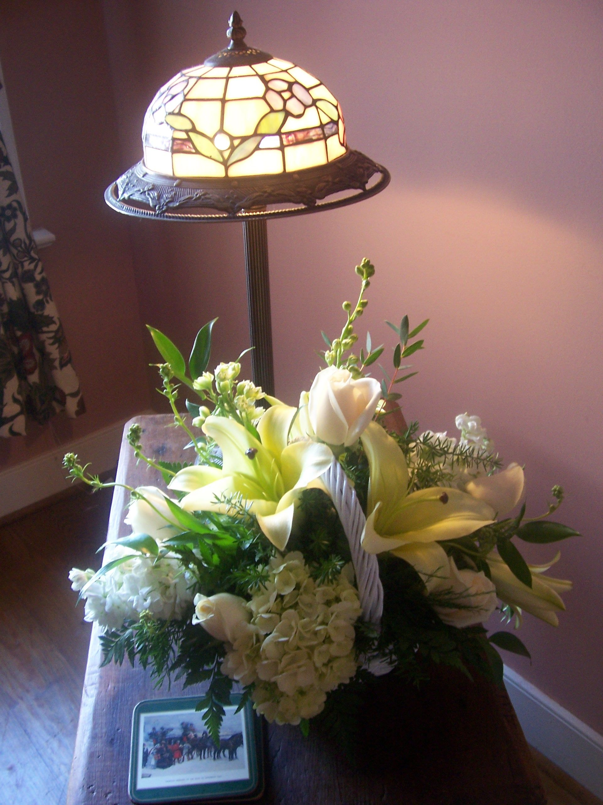 Lilies, Hydrangea, Roses in Basket  Flowers - Designs by Victoria Floral